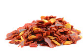 Heap of Crushed Chili Pepper on White Background