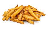 Heap of fried potato on white background.