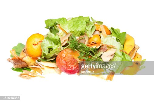 Heap of fruit and vegetable scraps for recycling