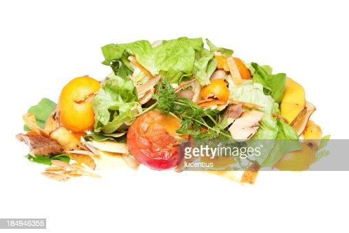 堆積のフルーツと野菜の廃棄リサイクル