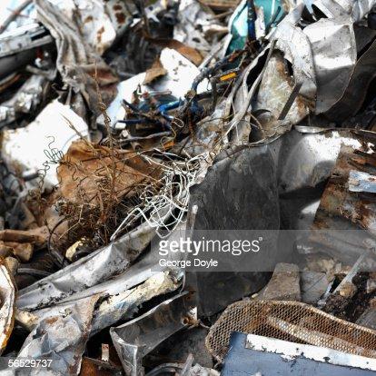 heap of garbage in a junkyard : Stock Photo