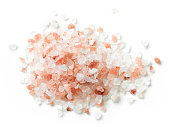 heap of himalayan salt isolated on white background, top view