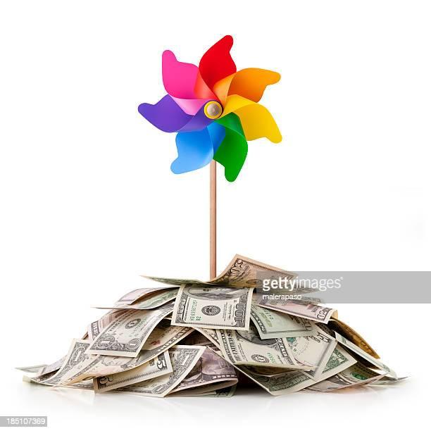 Minier de l'argent avec coloré Moulin à vent.