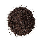 Heap of potting soil (dirt) isolated on a white background - view from above.