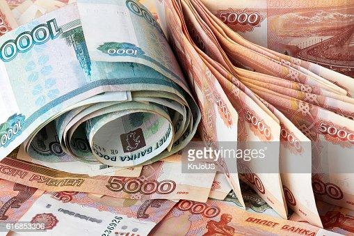 Heap of Russian Rubles. : Stock Photo
