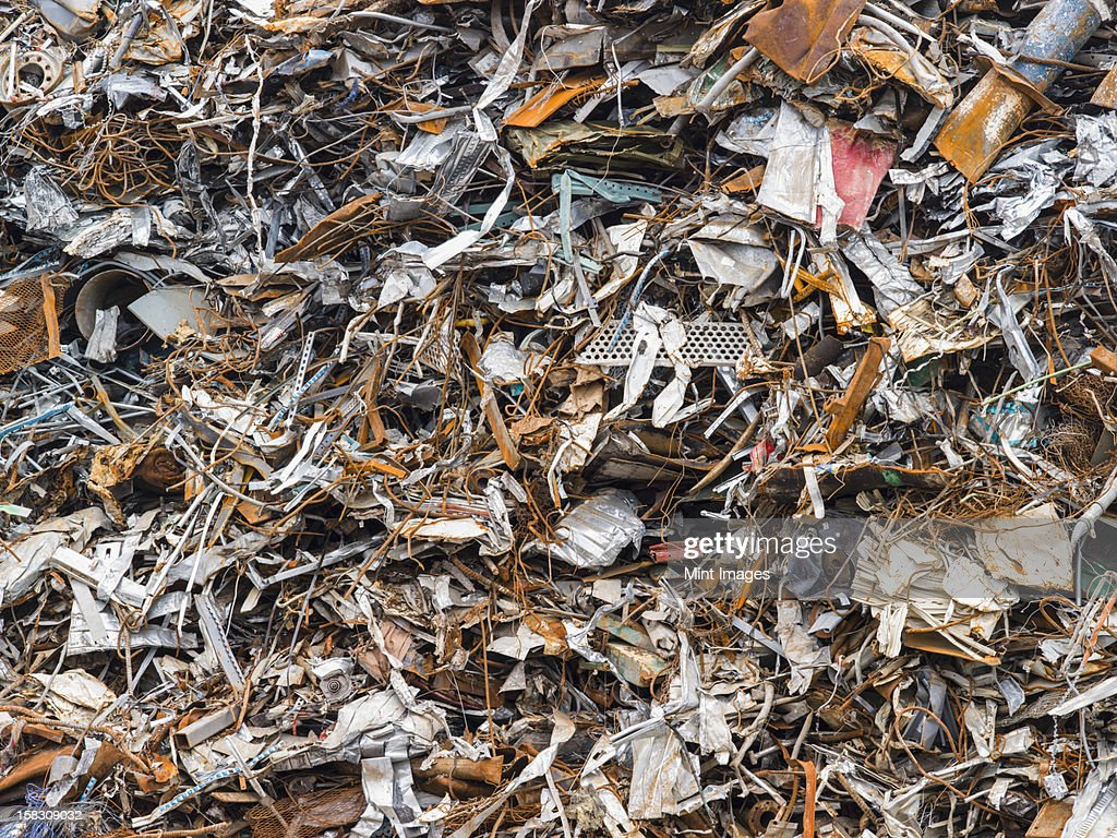 A heap of scrap metal for recycling : Stock Photo