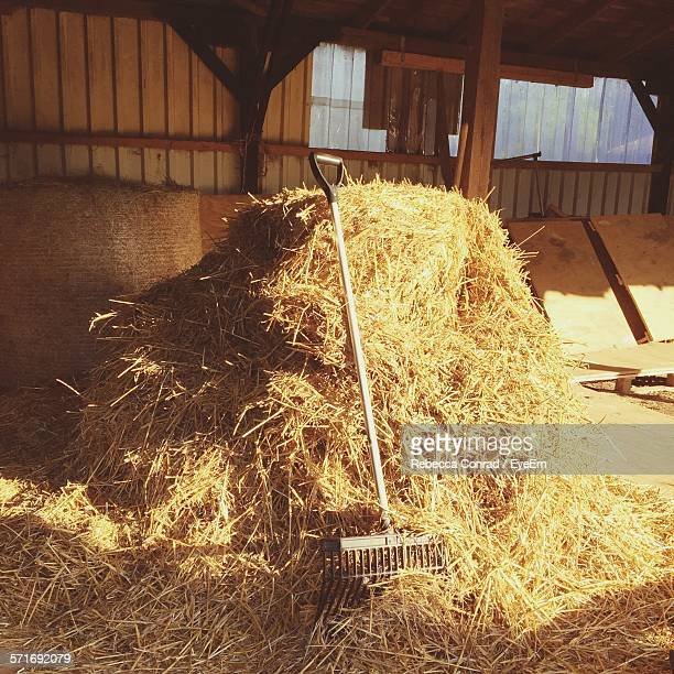 Heap Of Straw With Rake In Barn