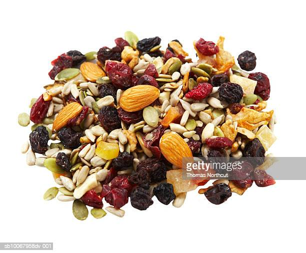 Heap of trail mix on white background