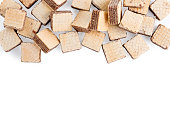 heap square wafer biscuits isolated on white background. Top view, copy space for text