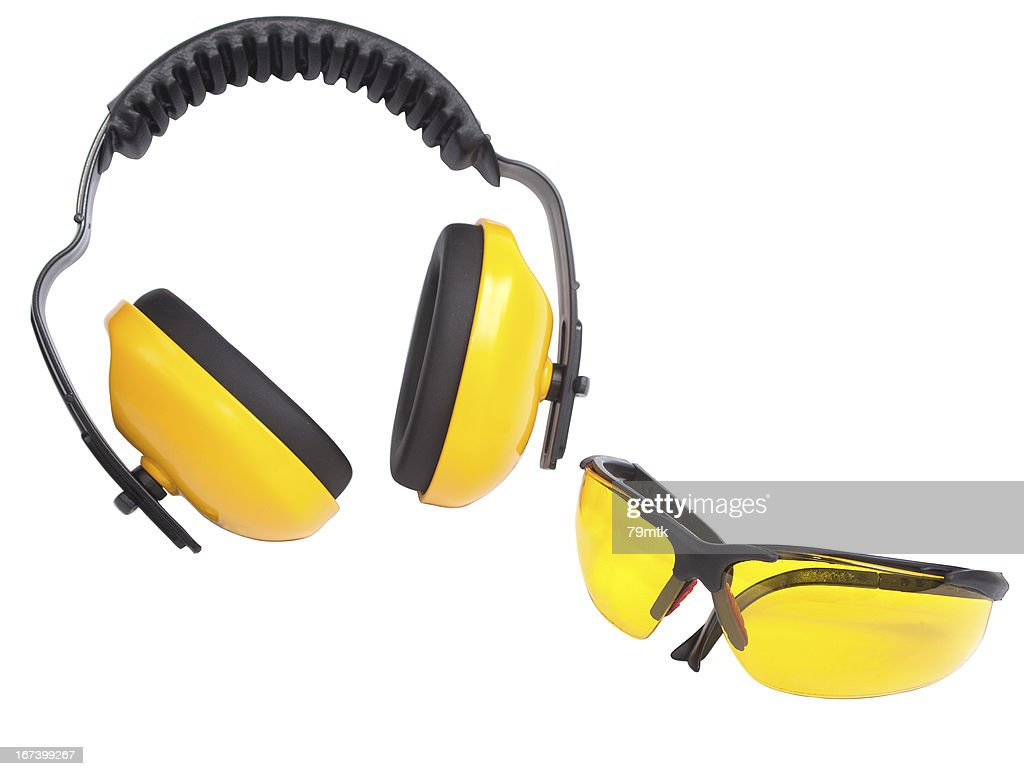 Hearing protection ear muffs and eyewear : Stock Photo