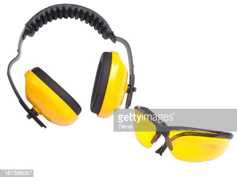 Hearing protection ear muffs and eyewear : Stockfoto