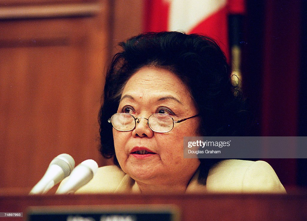 HEARINGS--Ranking Member Patsy T. Mink,D-Hawaii,during the Oversight and Investigations Subcommittee hearings to analyze the cost of the 1996 teamsters elections and the effects of illegal campaign contributions.
