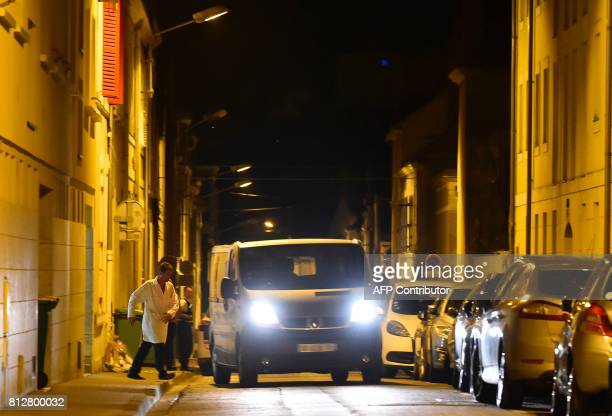 A hearse arrives to the house of late French magistrate JeanMichel Lambert who was found dead at his home on July 11 in Le Mans Lambert who was in...