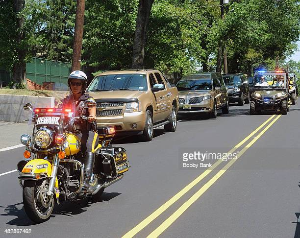A hearse carrying the body of Bobbi Kristina Brown at Fairview Cemetery on August 3 2015 in Westfield New Jersey Bobbi Kristina Brown daughter of...
