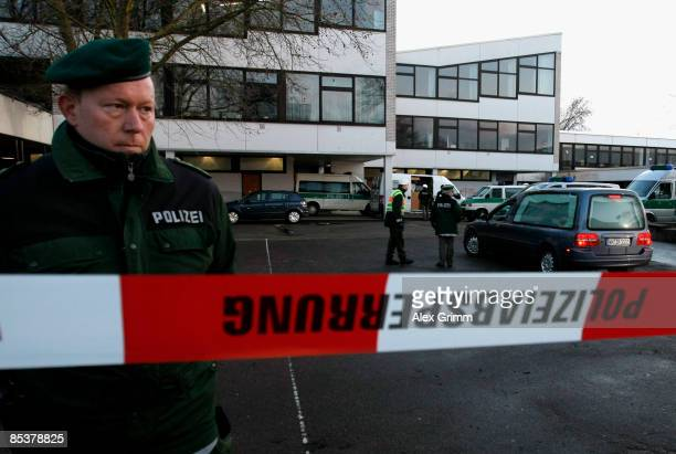 Hearses arrive in front of the Albertville School Centre on March 11 2009 in Winnenden near Stuttgart Germany A 17 year old ex pupil attacked the...