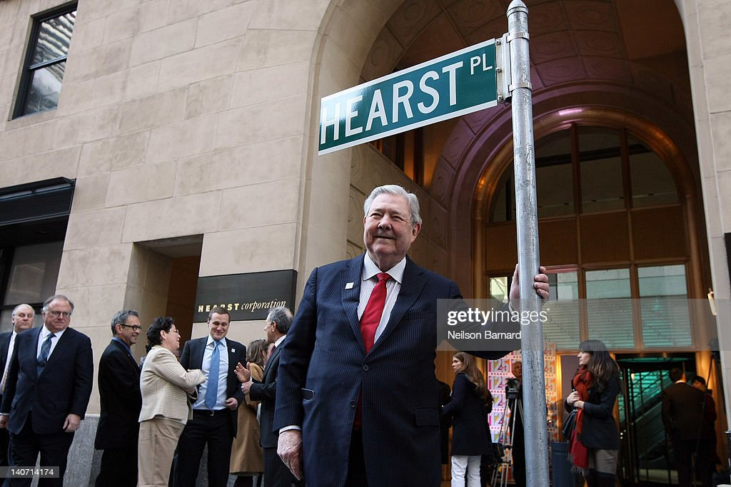 Hearst Corporation CEO Frank Bennack, Jr. attends the Hearst 125th Anniversary press conference to announce Hearst Tower's new LEED Platinum status and the unveiling of a street sign temporarily renaming the company's global headquarters 'Hearst Place' at Hearst Tower on March 5, 2012 in New York City.