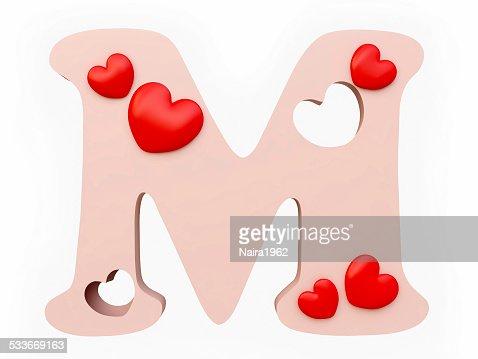 M Alphabet In Heart Heart Alphabet Letter ...