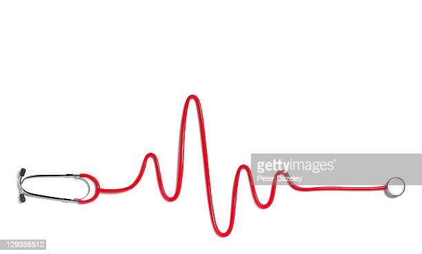 Heart beat with red stethoscope