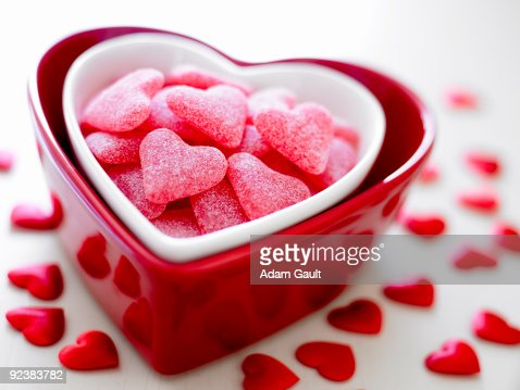 Heart Bowl with Heart Sweets : ストックフォト