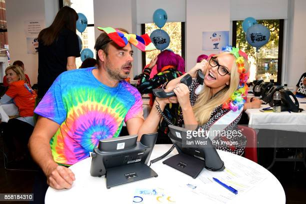 Heart Breakfast presenters Jamie Theakston and Emma Bunton during Global's Make Some Noise Day 2017 held at Global 30 Leicester Square London The...