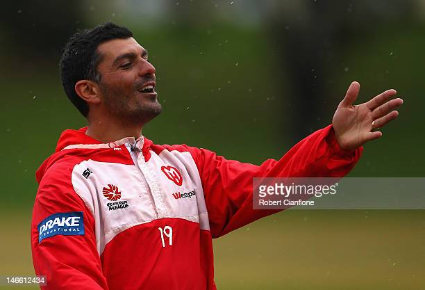 Heart coach John Aloisi gestures during a Melbourne Heart ALeague training session at La Trobe University on June 21 2012 in Melbourne Australia