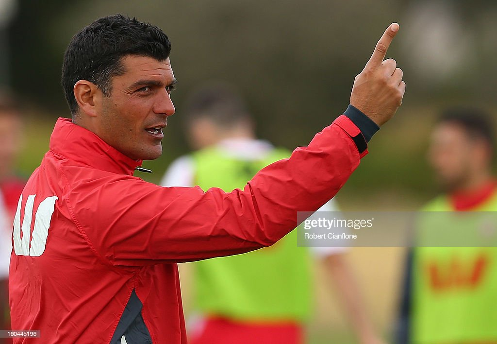 Heart coach <a gi-track='captionPersonalityLinkClicked' href=/galleries/search?phrase=John+Aloisi&family=editorial&specificpeople=171530 ng-click='$event.stopPropagation()'>John Aloisi</a> gestures during a Melbourne Heart A-League training session at La Trobe University Sports Fields on February 1, 2013 in Melbourne, Australia.