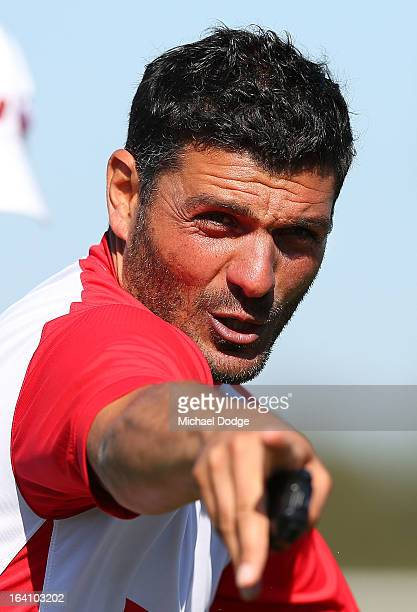 Heart coach John Aloisi gestures to a player during a Melbourne Heart ALeague training session at La Trobe University Sports Fields on March 20 2013...