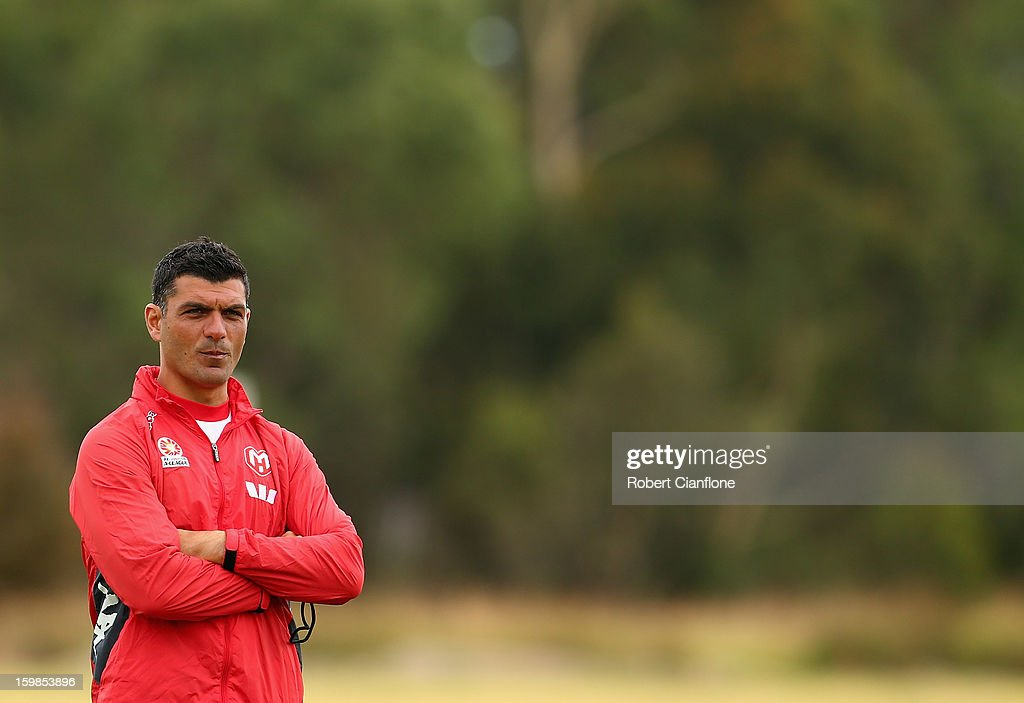 Heart coach <a gi-track='captionPersonalityLinkClicked' href=/galleries/search?phrase=John+Aloisi&family=editorial&specificpeople=171530 ng-click='$event.stopPropagation()'>John Aloisi</a> looks on during a Melbourne Heart A-League training session at La Trobe University Sports Fields on January 22, 2013 in Melbourne, Australia.