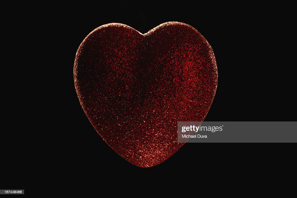 heart covered with glitter studio shot : Stock Photo