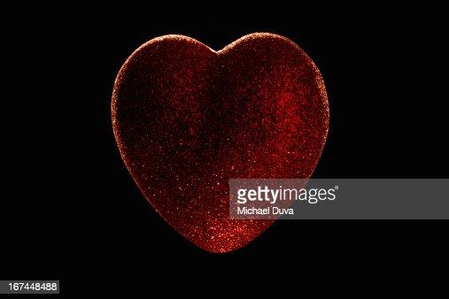 heart covered with glitter studio shot : Stock Photo