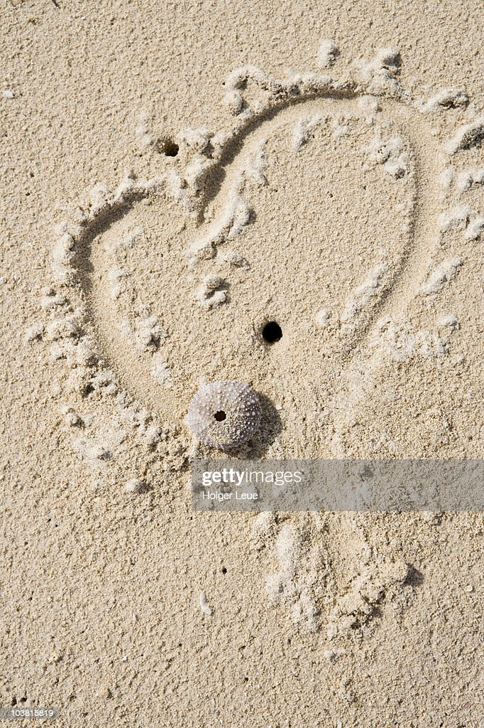 Heart drawn in sand. : Stock Photo