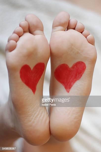 Heart drawn on feet