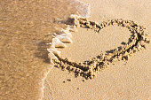 heart drawn on sand is washed off by sea wave, top view End relationship.