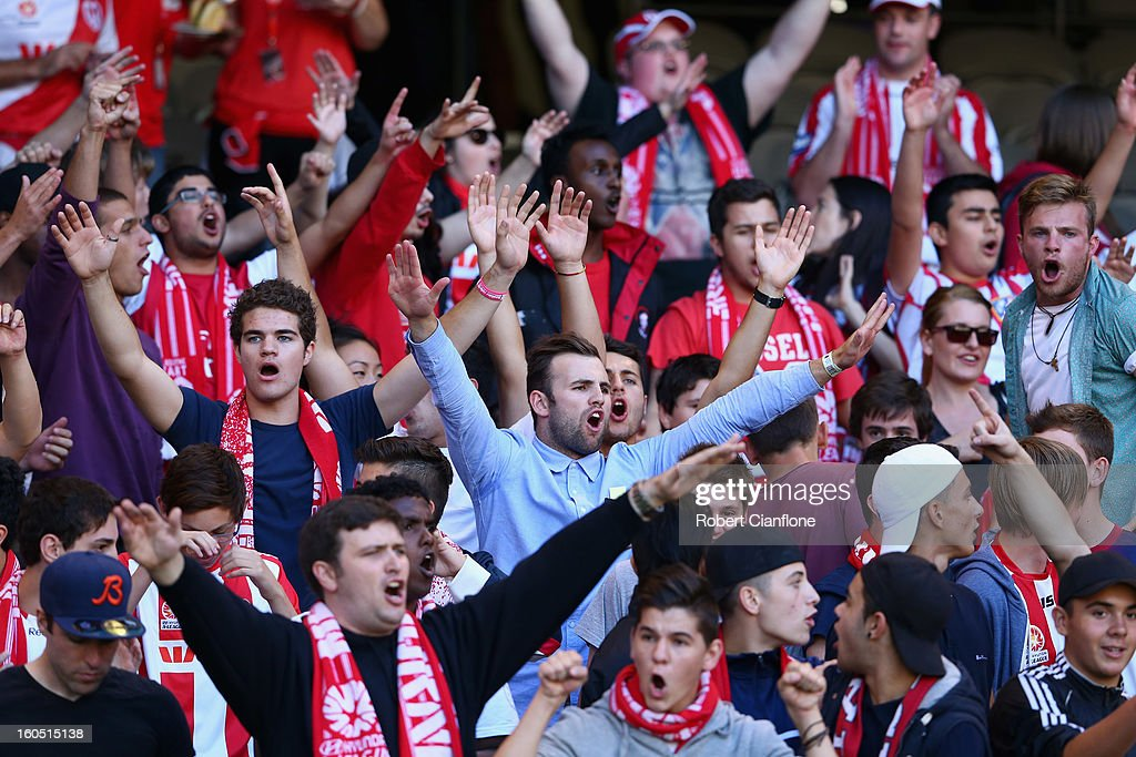 Heart fans cheer prior to the round 19 A-League match between the Melbourne Victory and the Melbourne Heart at Etihad Stadium on February 2, 2013 in Melbourne, Australia.
