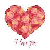 Heart from watercolor red petals of roses and a handdrawn lettering - I love you - on a white background. Hand painted watercolor illustration. Design by valentines day, flyer, poster, printing, maili