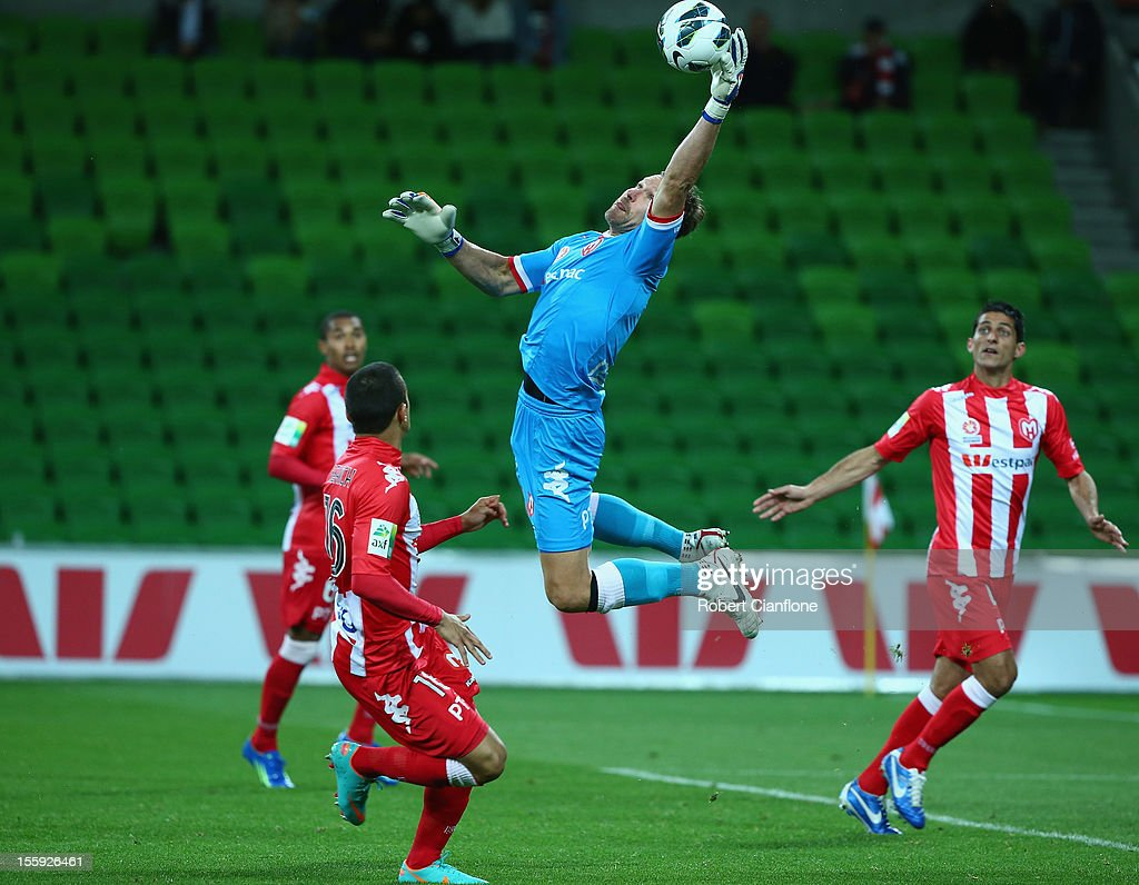 Heart goalkeeper <a gi-track='captionPersonalityLinkClicked' href=/galleries/search?phrase=Clint+Bolton&family=editorial&specificpeople=227070 ng-click='$event.stopPropagation()'>Clint Bolton</a> makes a save during the round six A-League match between the Melbourne Heart and the Brisbane Roar at AAMI Park on November 9, 2012 in Melbourne, Australia.