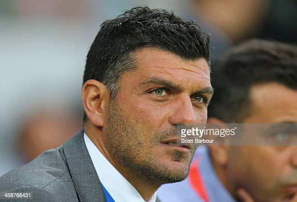 Heart Head Coach John Aloisi looks on from the sideline during the round 11 ALeague match between Melbourne Heart and Melbourne Victory at AAMI Park...