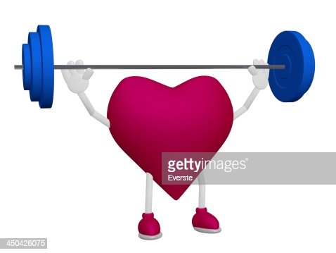 Heart health training weight sport concept on white background : Stock Photo