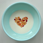 A heart in bowl of yoghurt