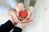 Heart in famiy hands
