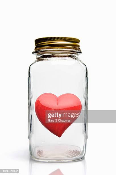 Heart in glass mason jar