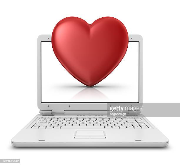 heart in laptop