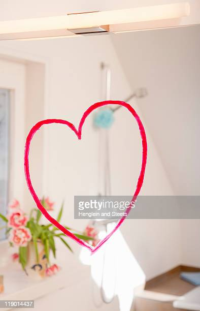 Heart in lipstick on mirror