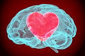 Heart inside brain, smart love concept. 3D rendering