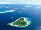 heart-shaped island in the tropical sea