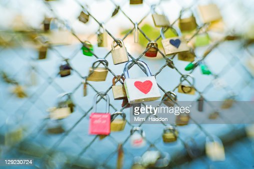 Heart Lock on the Pont Des Arts in Paris France : Stock Photo
