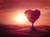 Red landscape with heart love tree