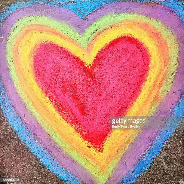 Heart Made By Colorful Chalk