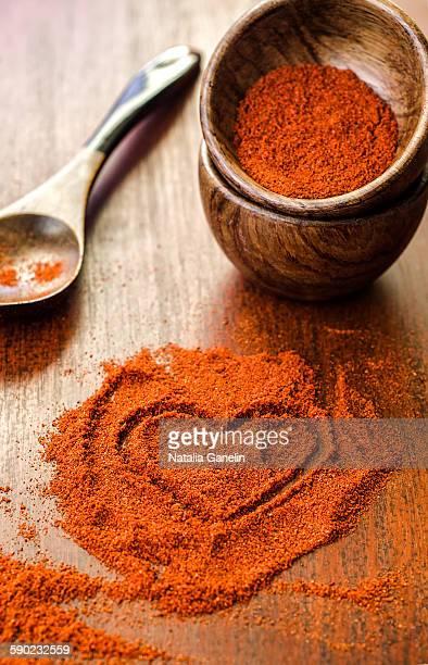 Heart made of paprika powder