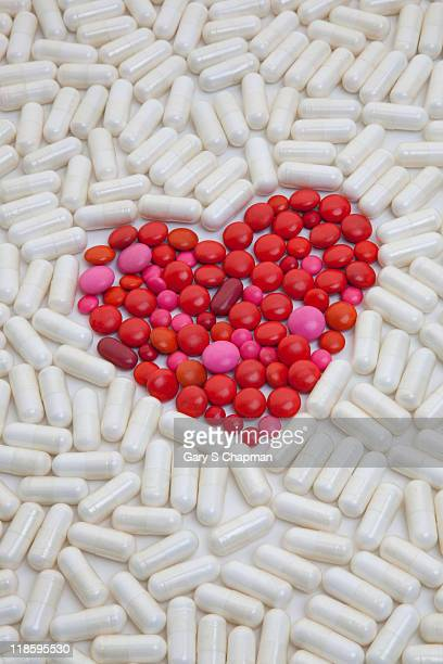 Heart made of red pills